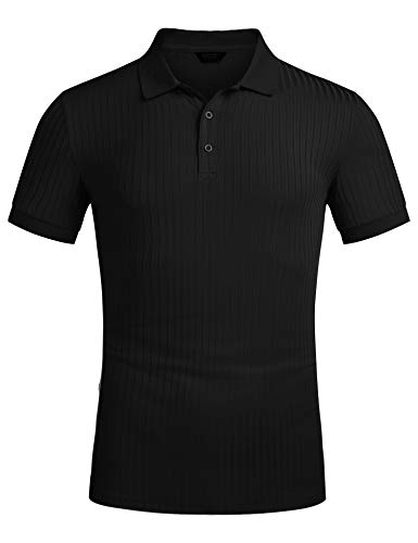 COOFANDY Herren Poloshirt Kurzarm Stehkragen mit Knopfleiste Regular Fit Basic Elegante Polohemd für Männer