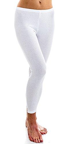 HERMKO 1720 Damen Legging aus 100% Bio-Baumwolle, Farbe:weiß, Größe:40/42 (M)