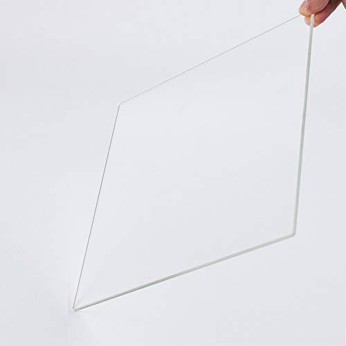 Piastra di costruzione in vetro borosilicato per stampanti 3D, 200 x 200 x 3 mm, vetro perfettamente piatto con bordi lucidi.