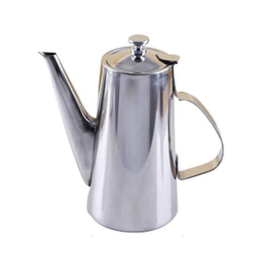 Cafetera de acero inoxidable con boca larga y boca corta, para hacer manualidades y filtro, 12 tazas de té, 2 l, color plateado