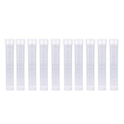 Kunststoff-Reagenzgläser Set 10 Stück 10 ml Probenbehälter Flasche Gefrorene Laborröhrchen Fläschchen Schraubverschluss White Cap Pack Behälter