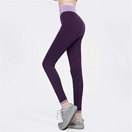 Leoie Yoga ejercicio culturismo mujeres sexy elástico yoga pantalones de deporte de fuerza de absorción de humedad ejercicio secado rápido leggins púrpura L