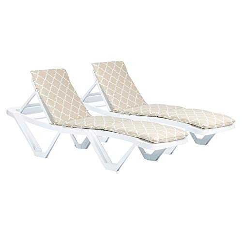 Harbour Housewares Master Sun Lounger Cushions - Beige Moroccan - Pack of 2