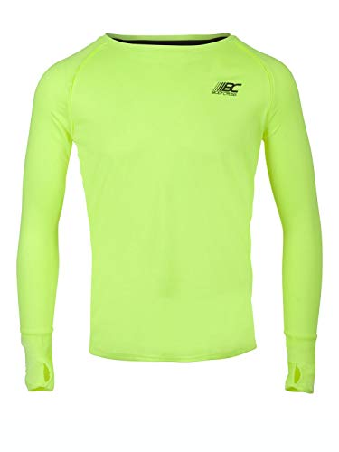 BODYCROSS T-Shirt Manches Longues A Passe Pouces Col Rond Homme Olin Jaune Fluo Running, Training en Polyester - Respirant, Léger, Protection Anti-Bactéries et Anti-Odeurs