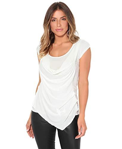 KRISP Top Mujer Original Elegante Camiseta Fruncido Blusa Tallas Grandes Camisa Fiesta, (Crema (3540), 48 EU (20 UK)), 3540-CRM-20