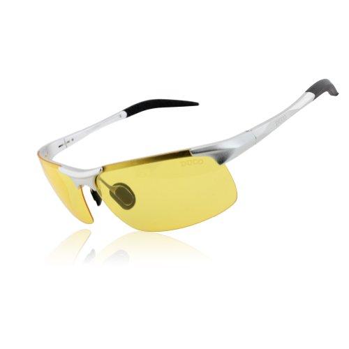 DUCO Nachtsichtbrillen polarisierte Nachtfahr-Brille Anti-Glanz Nachtfahrbrille 8177 (Silber)