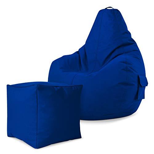 Green Bean Gaming © 2er Sitszack Set - Cozy Sitzsack mit 2 Seitentaschen + Cube Hocker - fertig befüllt - robust, waschbar, schmutzabweisend, wasserfest - für Kinder und Erwachsene - Blau