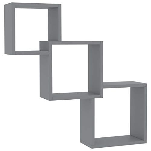 Festnight Wandregal Cube Regal Bücherregal Hängeregal Würfelregale Schweberegale Hochglanz-Grau 84,5×15×27 cm Spanplatte