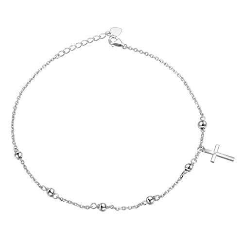 Flyow S925 Sterling Silber Fußkettchen für Damen Frauen Mädchen Perlen Kreuz Charme Einstellbare 9 Zoll + 1 Zoll Fuß Knöchel Armband Schmuck Geburtstagsgeschenk (Perlen Kreuz)
