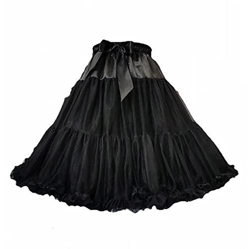 OMKMNOE Tulle Rock Tutu Tutu Tutu Ballet Ballet Ballet Ballet, 50S Vestidos De Baile De Petticoat Accesorios DE Oportunidad Elegantes Vestido De Noche Mujer De Calidad Partido Plisado,Negro
