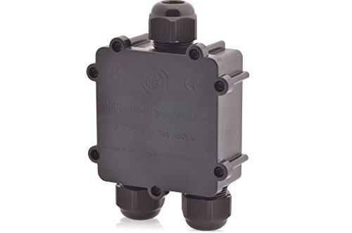 Abzweigdose Wasserdicht | IP68 | 24A 450V AC | 3 Öffnungen | Kabelquerschnitte: M25 4-14mm | TÜV geprüft VDE & CE Dosenmuffe Verbindungsdose Erdkabel Verbindungsbox Verbindungsmuffe