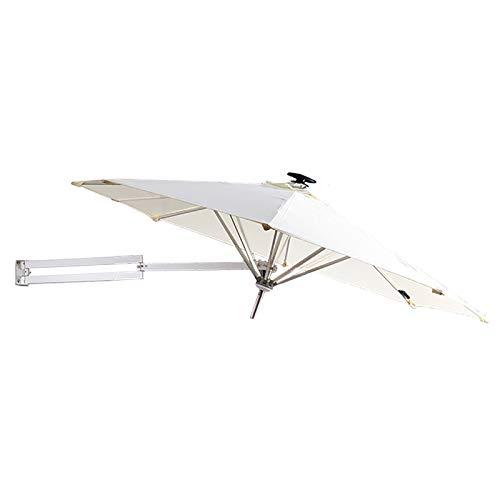 HYDT Sombrilla de Patio Sombrilla de Jardín de Pared Sombrilla para Patio Al Aire Libre, Sombrilla de Balcón Sombrilla de Mercado, Poste de Aluminio, Toldo de Ø250cm / 8ft (Color : Off-White)
