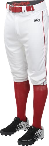 Launch Series Game/Practice Baseball Pant, Adult, Piped, Knicker, White/Red, Medium
