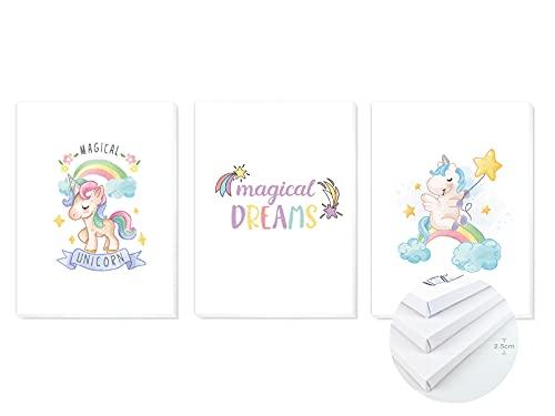 Pack 3 Tríptico cuadros con marco decorativos de lienzo impreso infantiles para decoración pared habitación dormitorio niños con bastidor de madera - 3 cuadros tamaño 30x40cm (Unicornios)