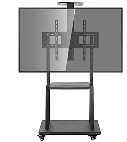 Lzpzz Soporte de Piso de TV VESA100x100-600x400mm Adecuado para 32-75 en Familia al Aire Libre con 360 Grados;Polea de Goma giratoria y 2 bandejas Hechas de Acero