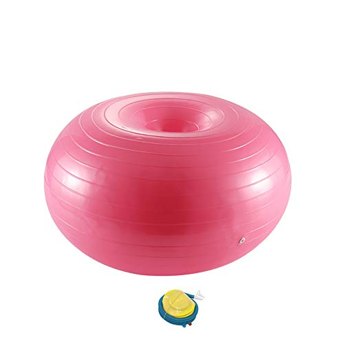 PPAPI Übungsball Donut Yoga Ball Workout Core Training Stabilität Ball für Yoga Pilates Balance Training mit aufblasbarer Pumpe, SO0178002_PK-1400-1513366631, Rose, 50 * 80 cm
