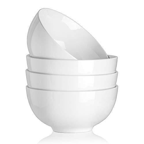 MALACASA, Serie Regular, 4 tlg CremeWeiß Porzellan Müslischale Schale Schüssel Salatchüssel Suppenschale Dessertschale Nudelschale
