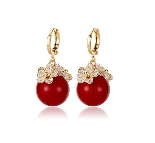 Pendientes Perla roja Temperamento femenino Pendientes atmosféricos Pendientes Pendientes de moda lindos 2021 Nueva tendencia