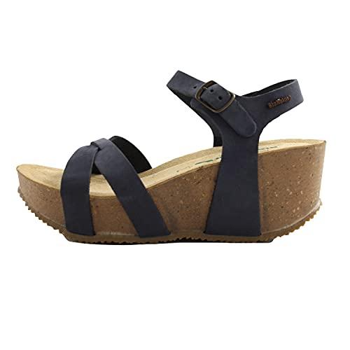BioNatura sandali estivi donna fondo gomma e zeppa in sughero. Comode e leggere. Pelle blu navy. N 38