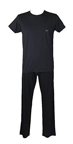 """Emporio Armani Pyjama für Männer mit kurzen Ã""""rmeln und Langen Hosen mit Rundhalsausschnitt und sichtbarem Gummiband Artikel 110853 5P710 + 111501 5A511, 00135 Marine, M"""