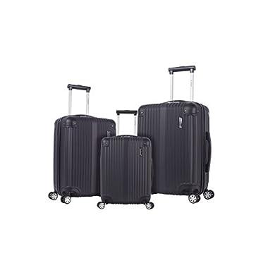 Rockland Hardside Spinner 3-Piece Luggage Set, Black