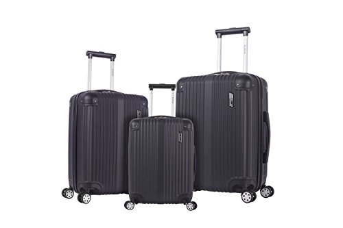 Rockland Berlin Hardside Expandable Spinner Wheel Luggage Set, Black, 3-Piece (20/24/28)