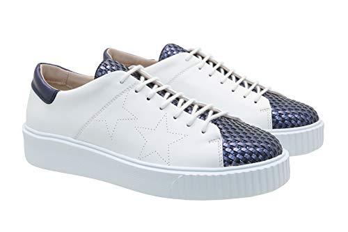 Tosca Blu Damen Sneakers Flamenco in Glattleder und Blau gewebtes Leder (Limitierte Auflage) (40 EU)