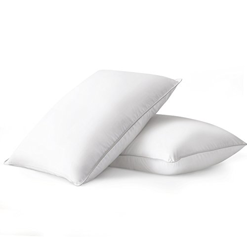 Beckham Hotel Collection Luxury White Down Feather Pillow (2-Pack) - Premium 100% Cotton Shell -...