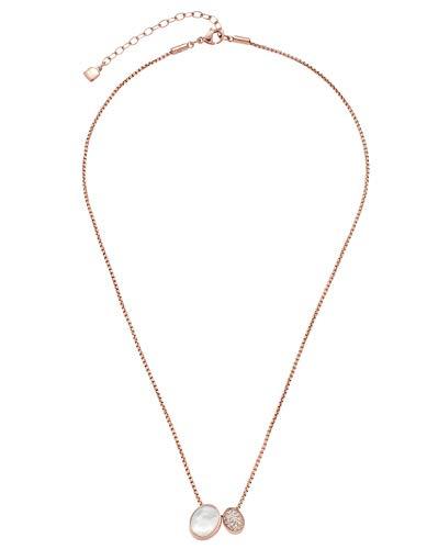 Jewels by Leonardo Damen-Halskette Lorella, Edelstahl IP roségold, Anhänger mit Perlmutt-Cabochon und klaren Zirkoniasteinchen, Länge 400 mm, 016789