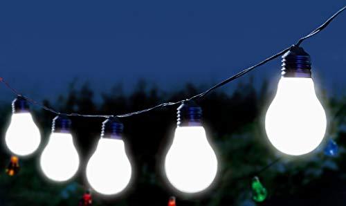 Trango 10er LED Party Deko-Leuchte TG3209 I Party Lichter Band I Partylichter I Stimmungslicht I Party Beleuchtung mit 10x weiß leuchtenden Lampen in Gühbirnen-Form Echtglas ca. 8m Länge