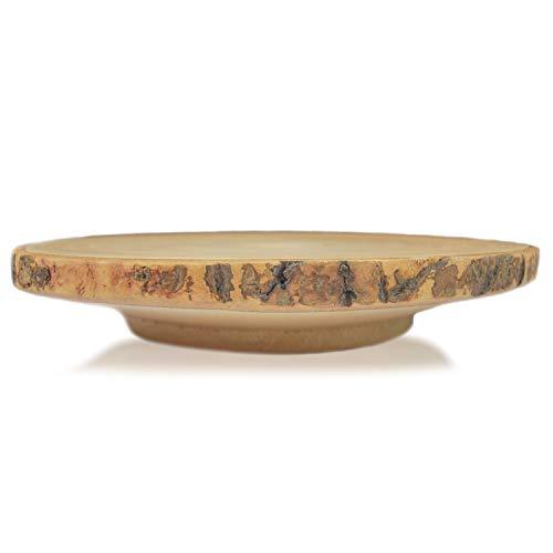 roro Tortenständer aus Holz, rund, handgeschnitzt, mit Rinde