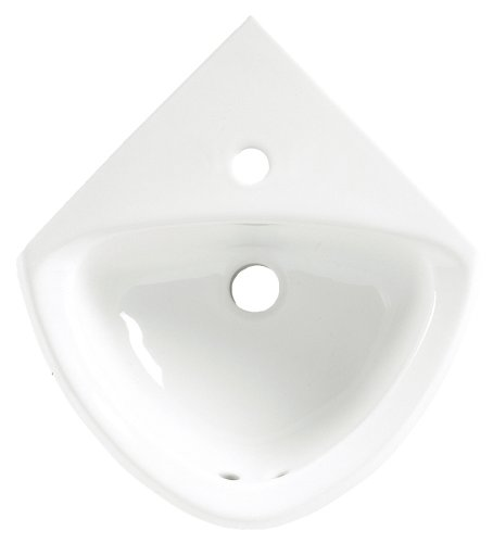 American Standard 0451.001.020 Corner Minette Front Overflow Wall Hung Corner Sink with Center Hole Only, White