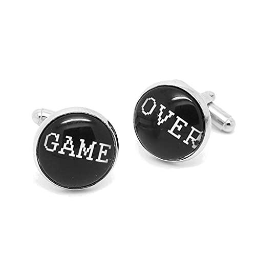 Label-Cravate Boutons de manchette humour et fantaisie vintage « Game Over Jeux video rétro »
