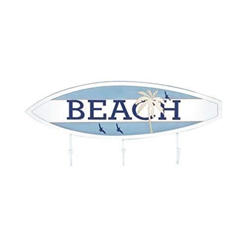 CAPRILO. Percha de Pared Decorativa Marinera de Madera 3 Ganchos Tabla Surf Beach. Percheros. Adornos y Muebles Auxiliares. Decoración Hogar. Regalos Originales. 17.5 x 40 x 4 cm.