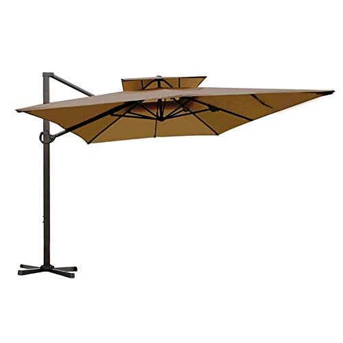 Abba Patio Rectangular Offset Cantilever Umbrella Dual Wind Vent Patio Hanging Umbrella with Cross...