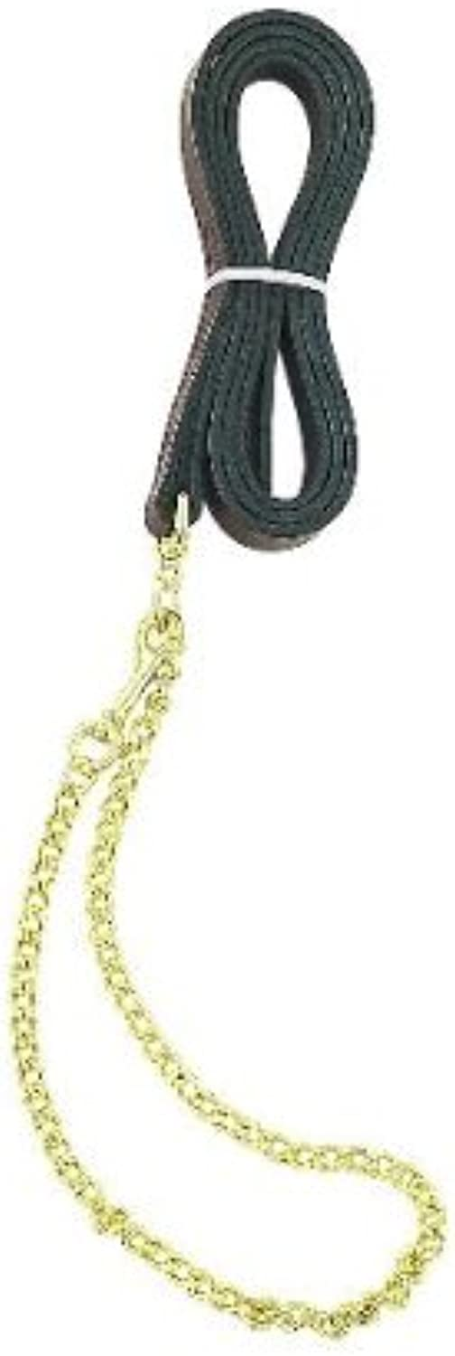 Perri's Leather Lead with Fine 30Inch Plated Chain, 6Feet 30Inch