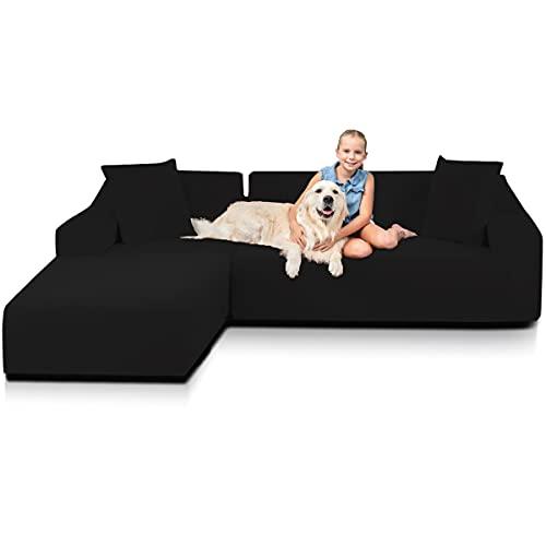TOPOWN Funda de sofá en forma de L, impermeable, para sofá esquinero, 3 plazas + 3 plazas con 2 fundas de almohada, color negro