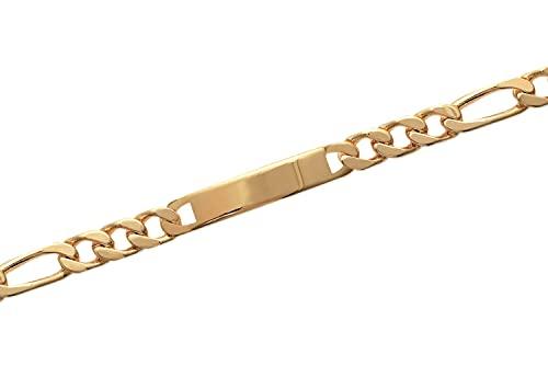 Tata Gisèle - Esclava chapada en oro de 18 quilates, eslabón figaro 1-3 – 10 mm – 22 cm – Grabado incluido – Estuche de regalo