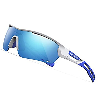 TOREGE Polarized Sports Sunglasses with 3 Interchangeable Lenes for Men Women Cycling Running Driving Fishing Golf Baseball Glasses TR33 Storm Chaser (White&Blue&Ice Blue Lens)
