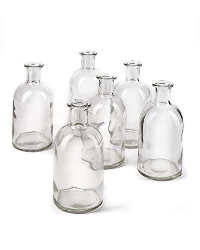 Bud Vases, Apothecary Jars, Decorative Glass Bottles, Centerpiece for Wedding Reception, Elegant Antique Decoration, Mini Flower Vases, Small Medicine Bottles for Home Decor (Clear, Set of 6)