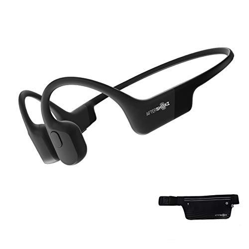 AfterShokz Aeropex, Auriculares de conducción ósea inalámbricos y sumergibles, con diseño Open-Ear, Cosmic Black