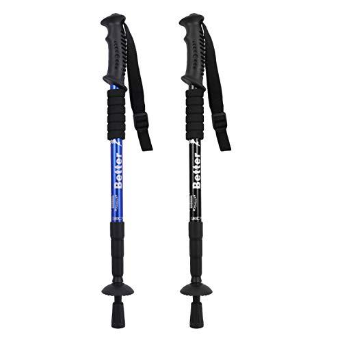 2 PCS Réglable en Alliage D'aluminium Anti-Choc 4-Segments Trekking Randonnée Ski Grimpant Bâtons Bâtons avec Bouts Couverture pour Hommes Femmes