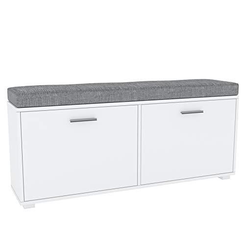 Target Home Zapatero con 2 compartimentos, banco con cojín gris, zapatero, color blanco mate