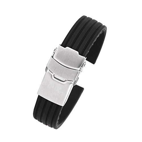 Moligin Negro Correa Caucho Reloj Silicona Suave Reloj reemplazo de Banda Reloj cinturón con Pliegue de Acero Inoxidable sobre buceadores Deportivos de Cierre