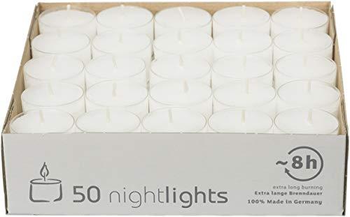 safe candle Nightlights Teelichte, 50 Stück, transparente Polycarbonathülle, 8 Std. Brenndauer