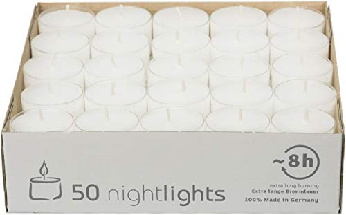 safe candle NIGHTLIGHTS tea lights, 50 pieces, Transparent polycarbonate cover, 8 hrs. burning time
