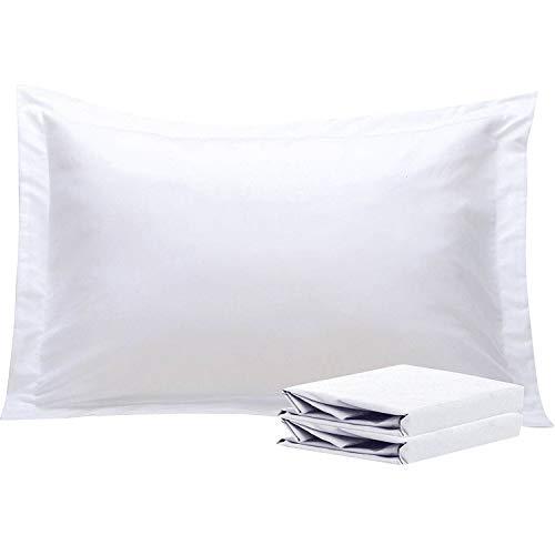 NTBAY Fundas de Almohada Oxford de Microfibra, Paquete de 2 Fundas de Almohada Oxford Antiarrugas y Resistentes a Las Manchas Suaves y Acogedoras, 50x75 cm, Blanco