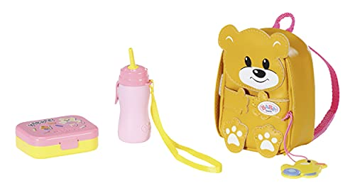 Zapf Creation 831601 BABY born Kindergarten Rucksack Set 36 cm - gelber Puppenrucksack in Bärenform mit Lunchbox und Trinkflasche
