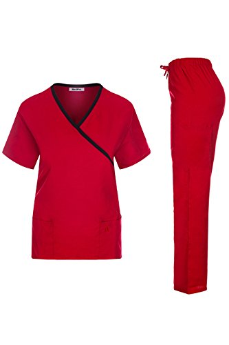 MedPro Women's Contrast Trimmed Solid Medical Scrub Set Mock Wrap Top and Cargo Pants Red & Black XS