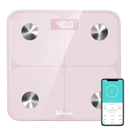 YePexwo 体重計 体組成計 体脂肪計 Bluetooth接続 ユーザー登録無制限 グラフ化 BMI/体脂肪率/筋肉量/推定骨量など スマホ連動 180kgまで対応 薄型 ピンク【日本語説明書】【1年保証期間】